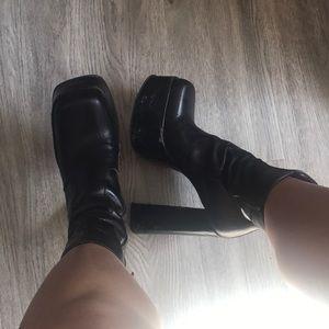 Shoes - Italian black leather platform ankle boot heels